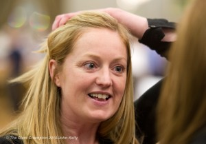 Noeleen Moran of Sinn Fein who was eliminated following count 9 during the election count at The West county Hotel, Ennis. Photograph by John Kelly.