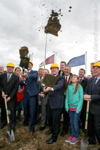 Taoiseach Enda Kenny and Ministers Leo Varadkar and Phil Hogan turning the sod on the Gort/Tuam motorway. Photograph by Arthur Ellis.