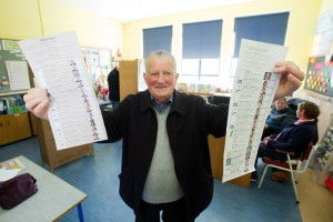 Local man John Joe Barry (82), a returned emigrant voting for his very first time in Ireland at the Scoil Realt na Mara polling station in Kilkee. Photograph by John Kelly.