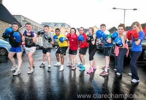 Participants in the Tide versus Pride white-collar boxing event in aid of Lifford AFC and Lahinch Playground Rescue Fund in the Queen's Hotel in Ennis on June 14.
