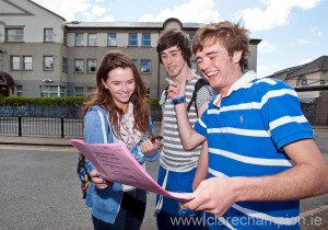 Holly Lynch, Evan Mc Namara and Liam Lynch outside Rice College, Ennis, following their first Leaving Cert exam on Wednesday. Photograph by Declan Monaghan