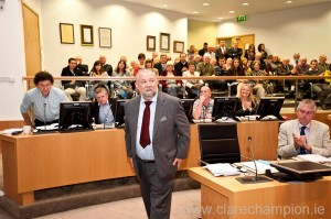 John Crowe stands to applause following his election as the new Mayor of Clare. Photograph by Declan Monaghan
