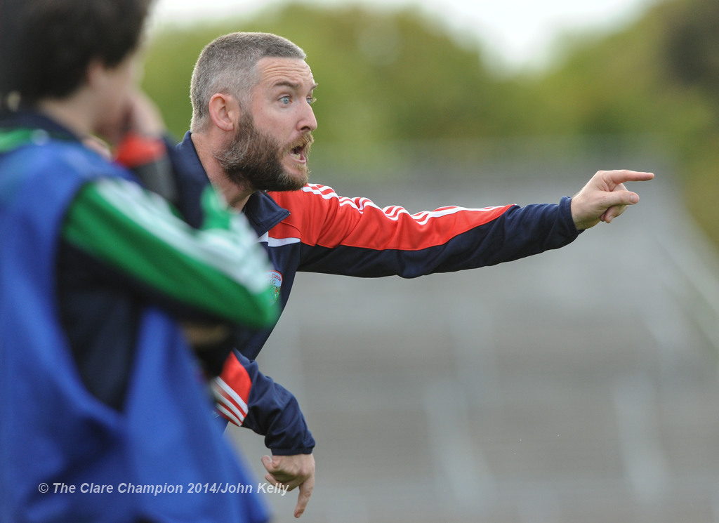 Corofin manager James Murrihy feeling the heat just before Wolfe Tones drew level at the end of their Intermediate final in Cusack park. Photograph by John Kelly.