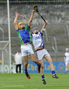 Sean Malone of Kilmaley in action against Tobias O Meara of Feakle/Killanena during their Minor A county final at Cusack Park Photograph by John Kelly.