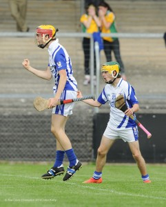 Kilmaley 1-6 to Feakle 0-6 at half time in the U-16 county hurling final at Cusack park. Kilmaley's goal was scored by Sean O Loughlin, pictured here celebrating with team mate Aidan Kennedy.