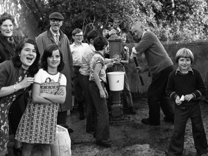 Fetching water at Parteen during the drought of 1977. Photograph, The Limerick Leader