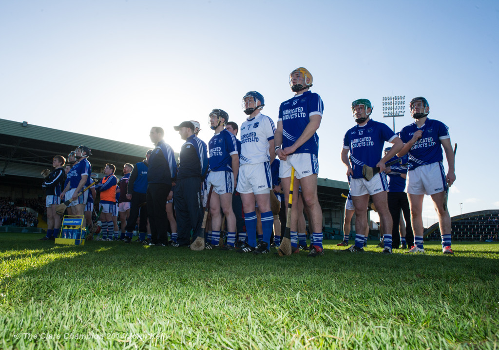 The Cratloe team stands for the anthem before the Munster Club final at The Gaelic Grounds. Photograph by John Kelly.
