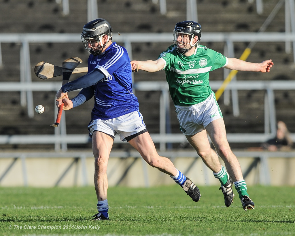 Sean Chaplin of Cratloe in action against Graeme Mulcahy of Kilmallock during their Munster Club final at The Gaelic Grounds. Photograph by John Kelly.