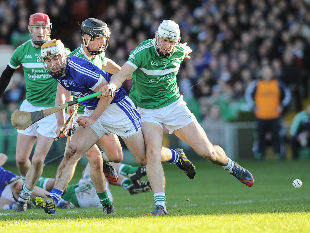 Conor Mc Grath of Cratloe in action against Kevin O Donnell of Kilmallock during their Munster Club final at The Gaelic Grounds. Photograph by John Kelly.