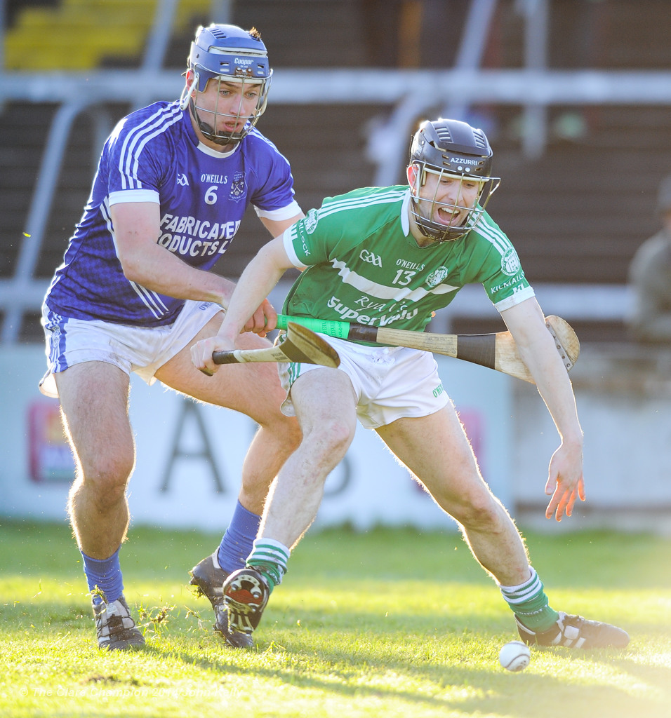 Conor Ryan of Cratloe in action against Graeme Mulcahy of Kilmallock during their Munster Club final at The Gaelic Grounds. Photograph by John Kelly.
