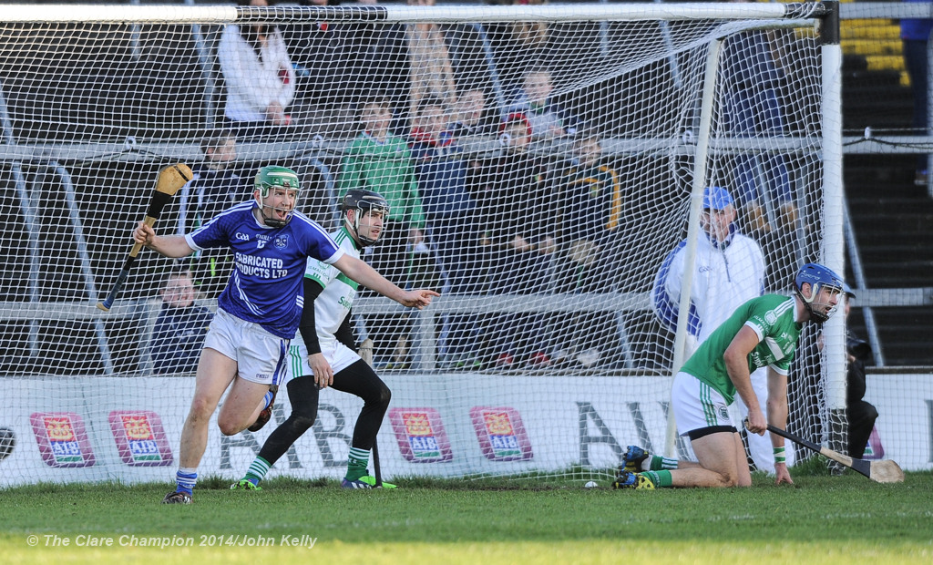 Cathal Mc Inerney of Cratloe celebrates a goal against Kilmallock during their Munster Club final at The Gaelic Grounds. Photograph by John Kelly.