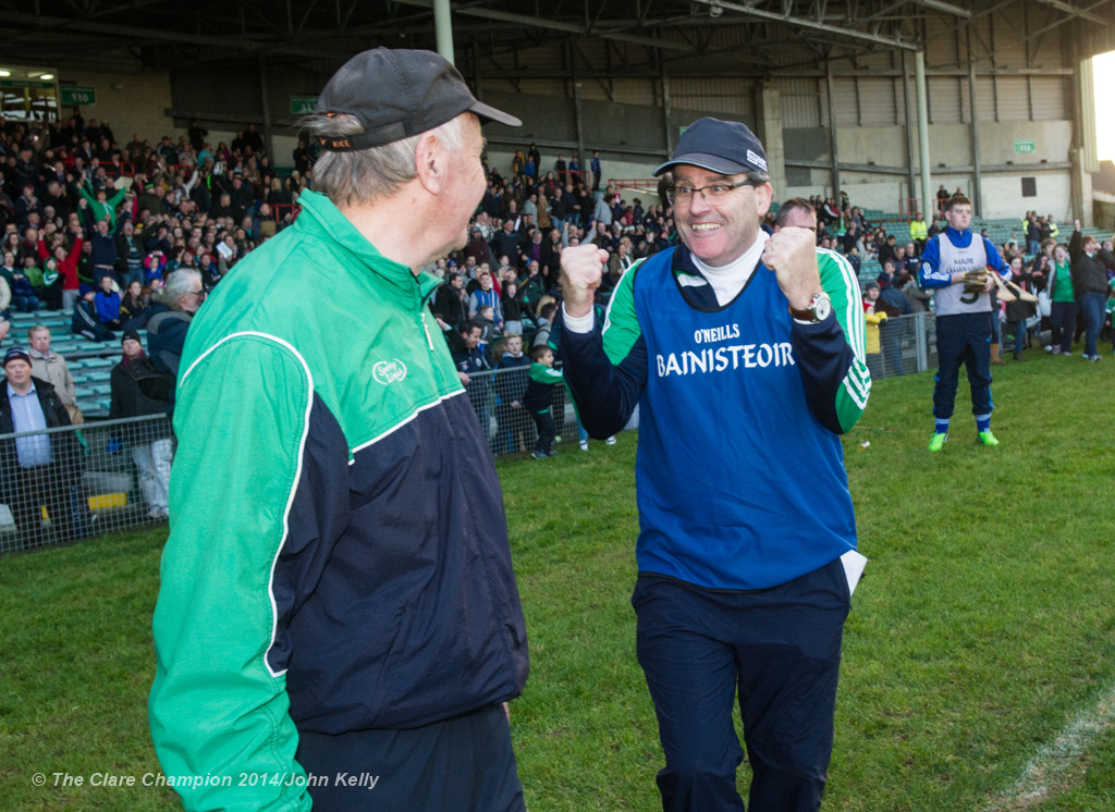 Kilmallock manager and Clarecastle club man Ger Sparrow O Loughlin celebrates the win over Cratloe on the final whistle at the Munster Club final in The Gaelic Grounds. Photograph by John Kelly.
