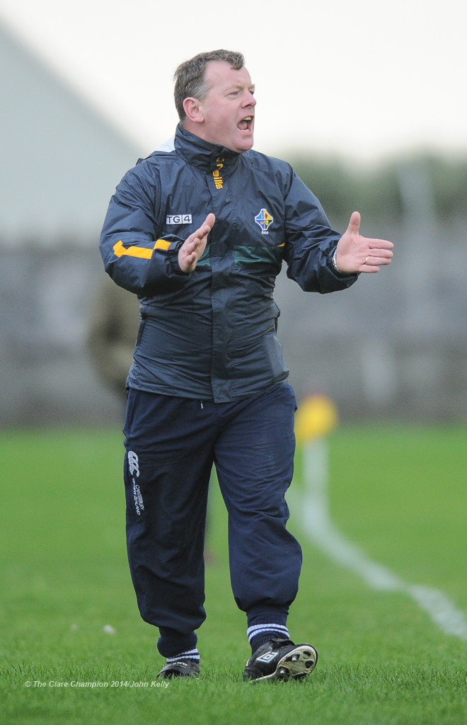 Donal O hAinifein of the Eire Og management on the sideline against Clann Lir during the  U-21A final in Miltown Malbay. Photograph by John Kelly.