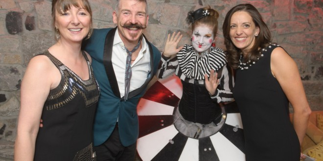 Angela Connaughton, Glór, Jerry Fish, performer Ciara Moloughney and Gemma Carcatera, Glór, attending the Glor@Dromoland event, an evening of fine dining in the Brian Boru banqueting hall with entertainment by the Jerry Fish Electric Sideshow. Photograph by John Kelly.