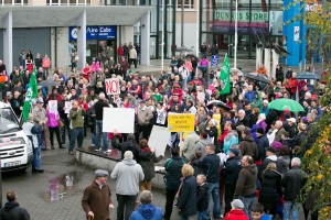 Crowds gather to take part in the anti-water charges protest in Shannon . Photgraph by Arthur Ellis.