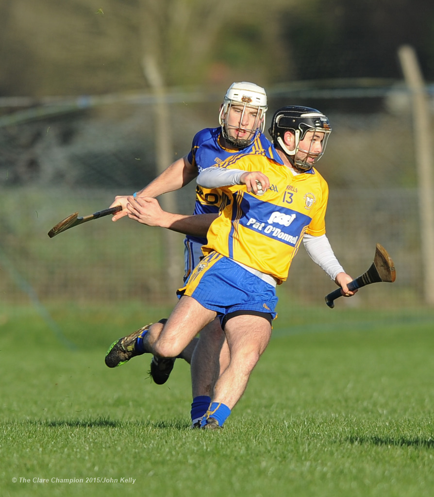 Cathal O Connell of Clare in action against Joe O Dwyer of Tipperary during their Waterford Crystal Cup game at Sixmilebridge. Photograph by John Kelly.