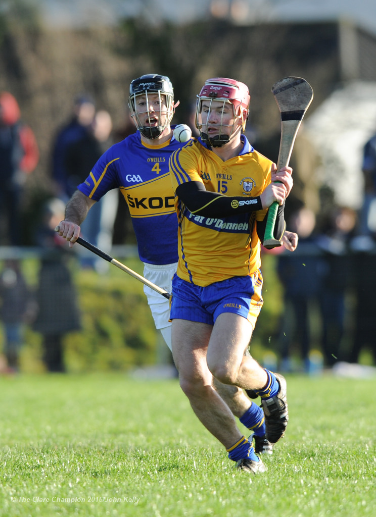 David O Halloran of Clare in action against Conor O Brien of Tipperary during their Waterford Crystal Cup game at Sixmilebridge. Photograph by John Kelly.