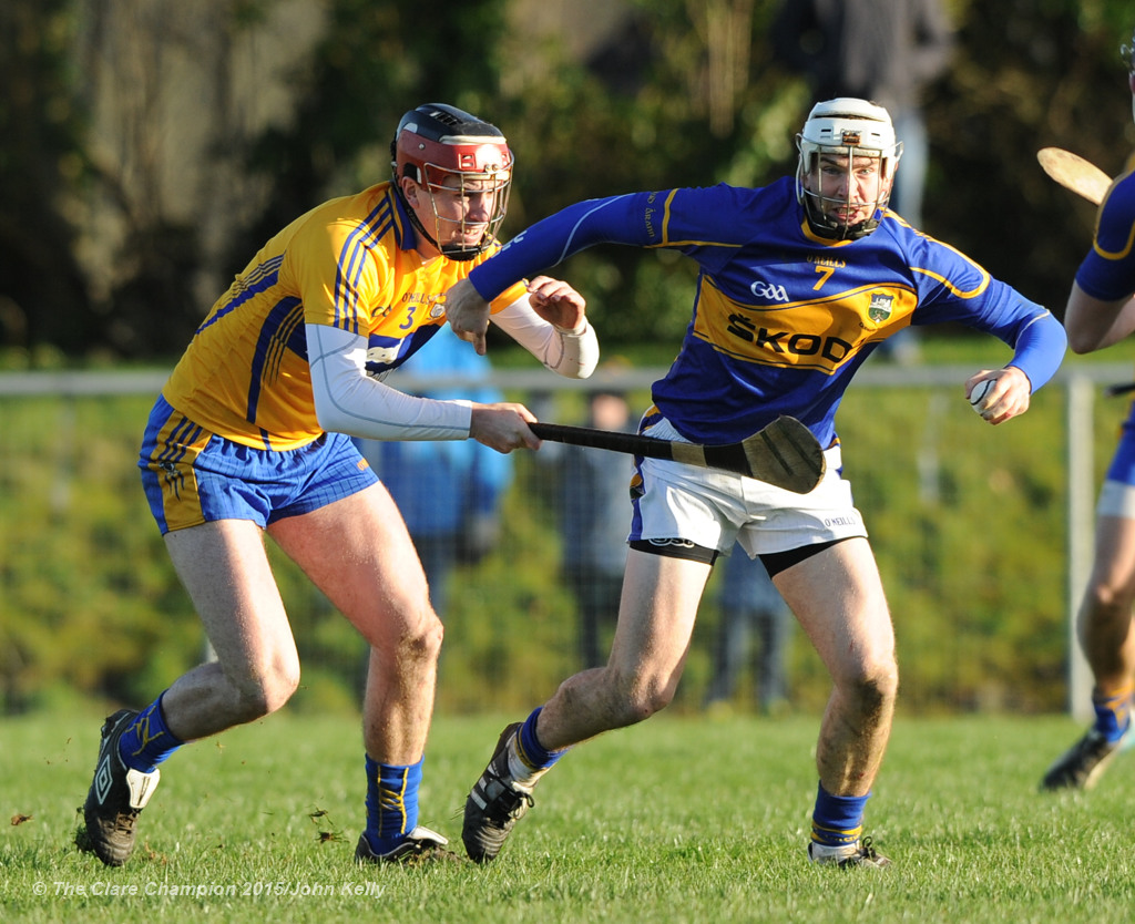 Cillian Duggan of Clare in action against Brendan Maher of Tipperary during their Waterford Crystal Cup game at Sixmilebridge. Photograph by John Kelly.