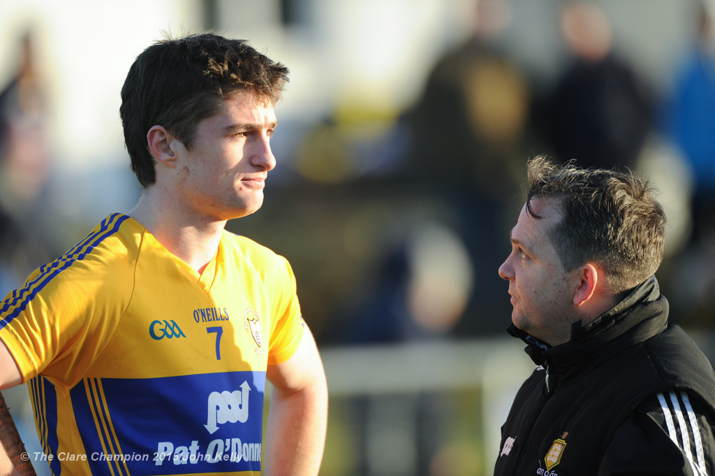 Clare manager Davy Fitzgerald has a word with player Conor Cleary following their Waterford Crystal Cup game at Sixmilebridge. Photograph by John Kelly.