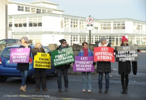 Colaiste Muire teachers on the picket outside their school in Ennis. Photograph by John Kelly.