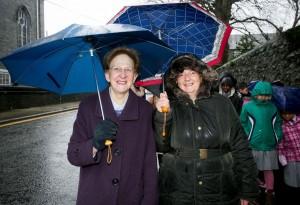 Sr Madeline (left) who did the walk 50 years ago and school secretary, Lucy Finn Photograph by Arthur Ellis.