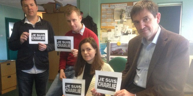 Journalists Peter O'Connell, Owen Ryan, Carol Byrne, and Austin Hobbs Editor of The Champion NUJ Chapel Supporting Je Suis Charlie Campaign