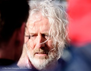 T.D Mick Wallace speaking to the media outside Ennis courthouse on Tuesday morning. Photograph by John Kelly.