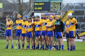 The Clare hurling team line out in Pearse Stadium. Photograph by Declan Monaghan