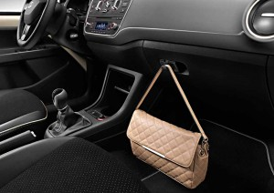 The Alcantara interior of the SEAT Mii by Mango with optional handbag.