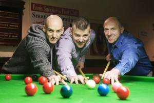 Gerard O'Loughlin (on right) with Gordon O'Loughlin and Kieran Ferns, who completed  the snooker marathon.  Photograph by John Kelly