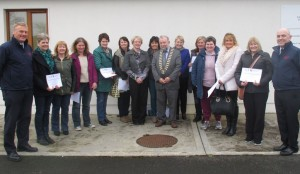 Family Carers and staff from Caring for Carers Ireland (CFCI) and members of Clare County Fire & Rescue Service pictured with Cllr. John Crowe, Cathaoirleach of Clare County Council (centre) at the Clare County Fire and Rescue Service Training Centre in Ennis