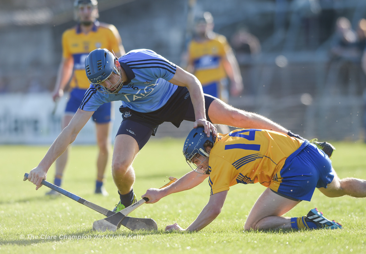 Chris Crummy of Dublin in action against Shane O Donnell of Clare during their NHL Division 1 Round 4 game in Cusack Park. Photograph by John Kelly.
