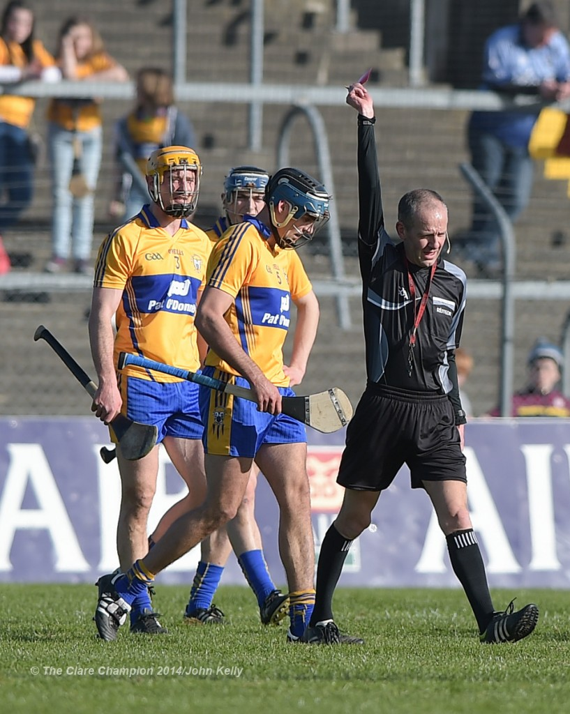Brendan Bugler  of Clare is shown a red card by referee Cathal Mc Allister during their NHL Division 1 Round 4 game against Dublin in Cusack Park. Photograph by John Kelly.