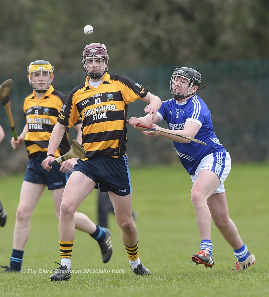 James Howard of Crusheen-Tubber in action against Dominick Costigan of Cratloe during their U-21 semi final at Clarecastle. Photograph by John Kelly.