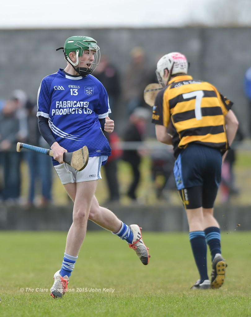 Jack Mc Inerney of Cratloe celebrates a goal against Crusheen-Tubber during their U-21 semi final at Clarecastle. Photograph by John Kelly.