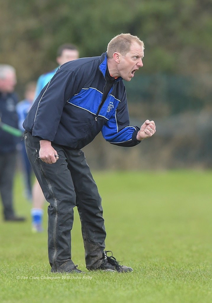 Cratloe mentor XX on the sideline during their U-21 semi final against Crusheen-Tubber at Clarecastle. Photograph by John Kelly.