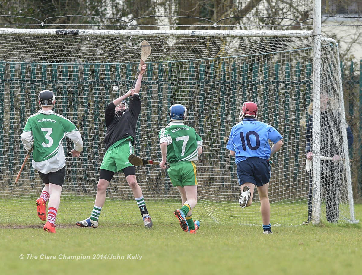 Conor Downes of Scariff Community College goals against Ennistymon CBS during their Munster U-15 D final at Clarecastle. Photograph by John Kelly.