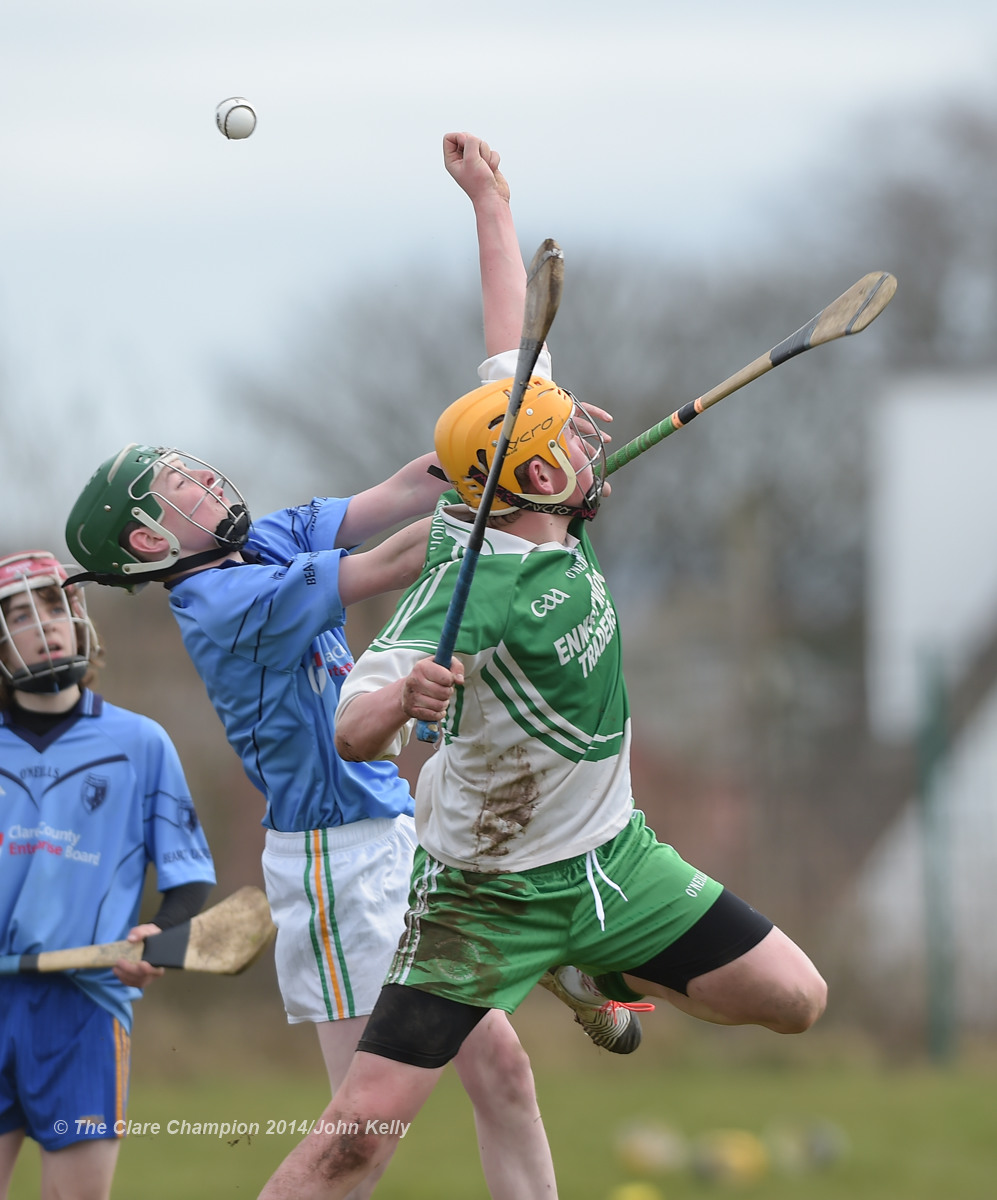 James Hannon of Scariff Community College  in action against Tom Barry of Ennistymon CBS during their Munster U-15 D final at Clarecastle. Photograph by John Kelly.