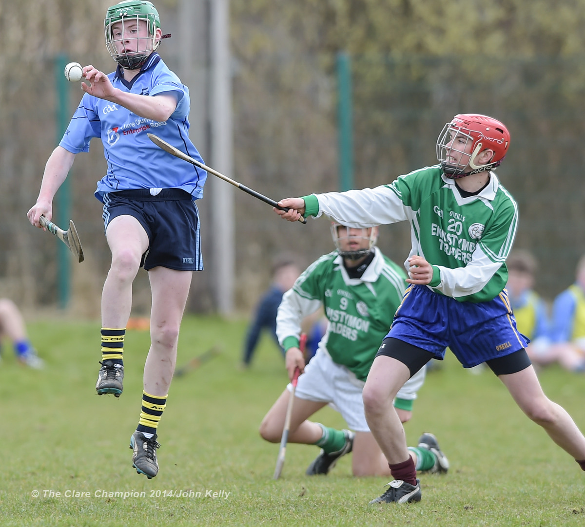 Henry Mc Grath of Scariff Community College  in action against Seamus Hurley of Ennistymon CBS during their Munster U-15 D final at Clarecastle. Photograph by John Kelly.