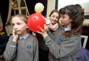 Catherine Fennessy, Aisling O Brien and Sadhbh Giblin of Scariff NS at the Clare Education Centre Science Fair 2015 in the Auburn Lodge Hotel, Ennis. Photograph by John Kelly.