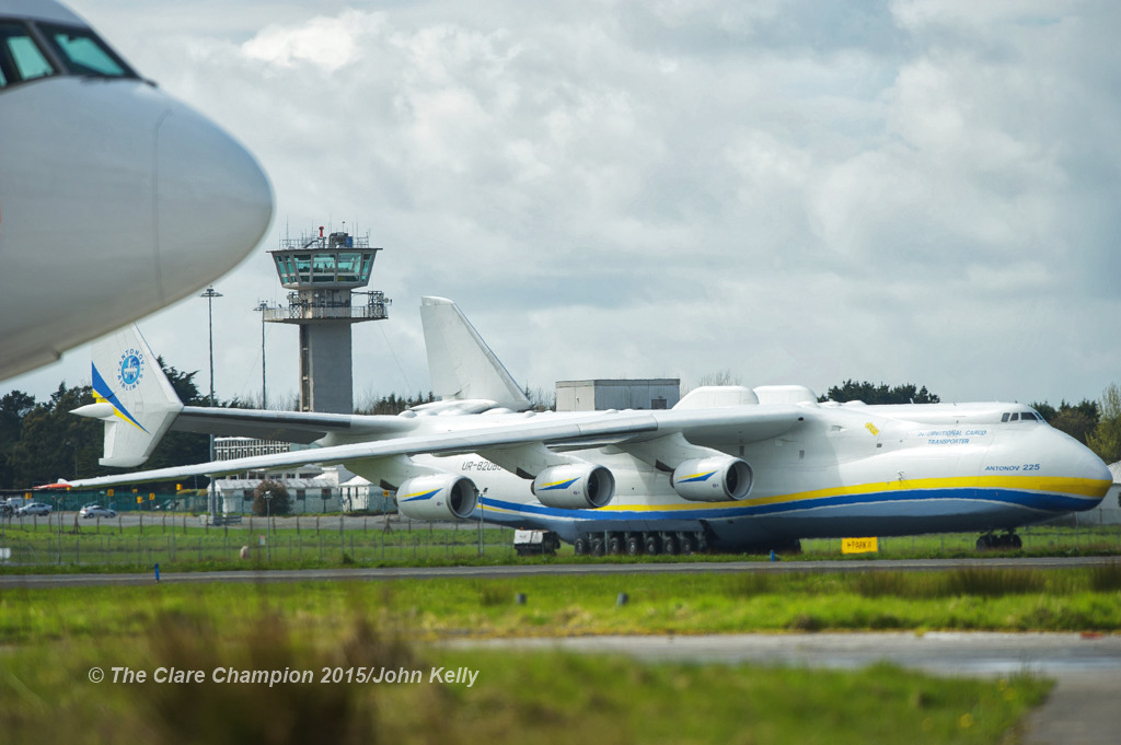 The world's largest aircraft, the Antonov 225 pictured on the runway, with the control tower seen behind, at Shannon airport. Photograph by John Kelly.