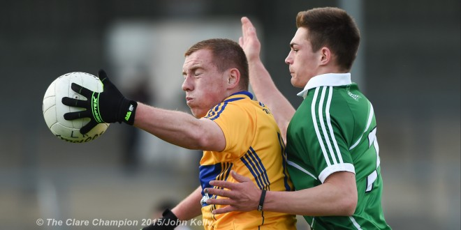Nigel Murray of Clare in action against Sean Murphy of Limerick during their Munster minor championship semi-final at Cusack Park. Photograph by John Kelly.