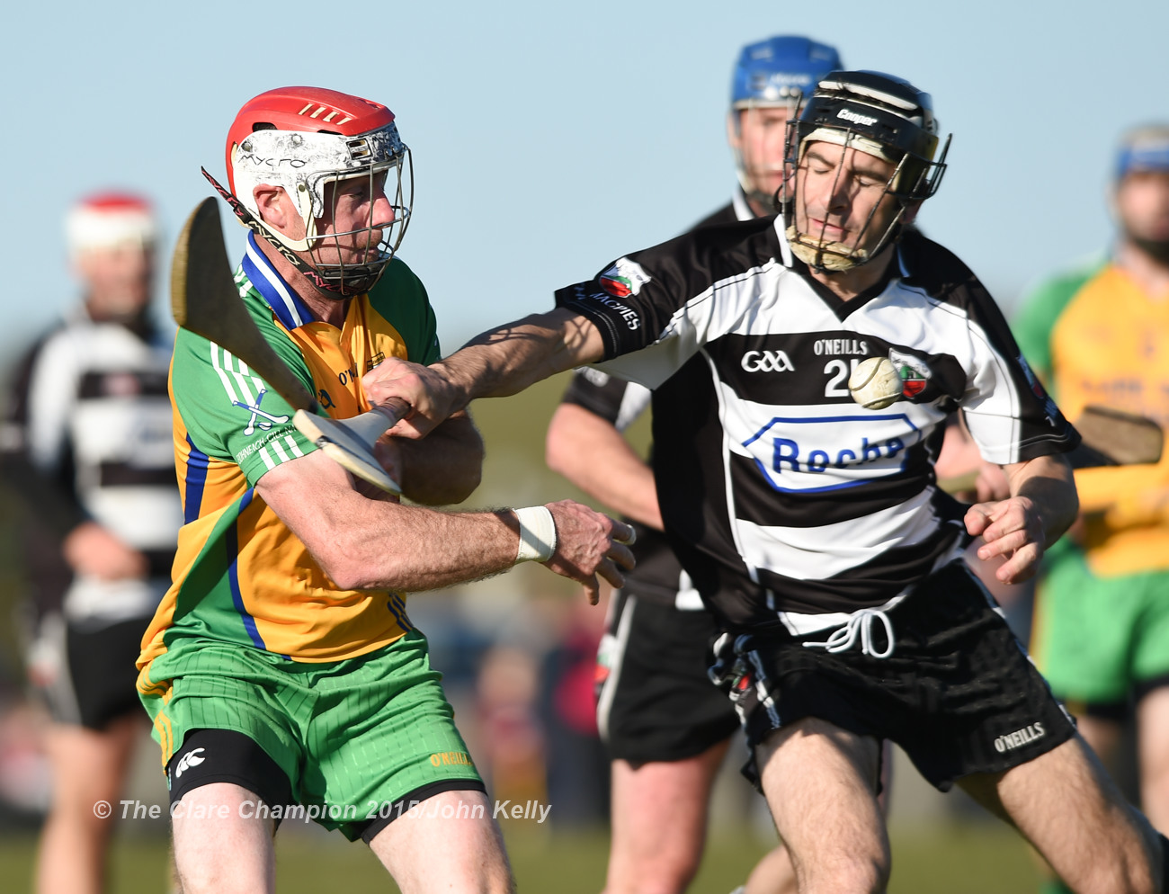 Dermot Lynch of Inagh-Kilnamona in action against Eric Flynn of Clarecastle during their Clare Champion Cup game in Inagh. Photograph by John Kelly.
