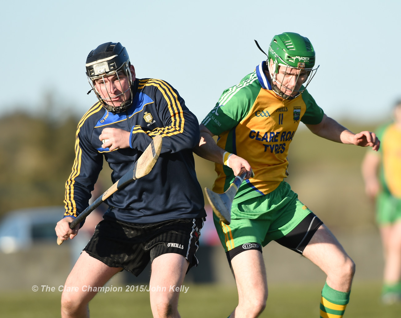 Johnathan Griffey of Clarecastle in action against Conor Tierney of Inagh-Kilnamona during their Clare Champion Cup game in Inagh. Photograph by John Kelly.