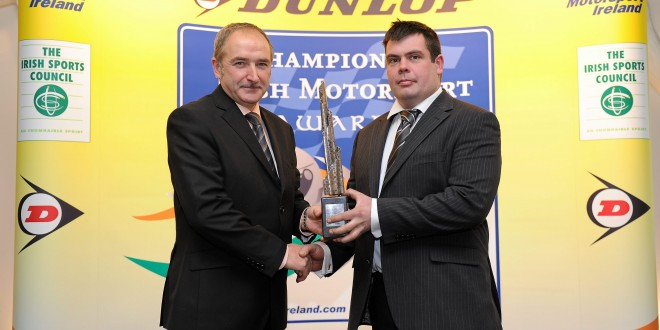 Simon McKinley (on right) being presented with the 2010 Connaught Competition Engines Irish Hillclimb and Sprint trophy by Joe Corcoran (President of Motorsport Ireland).