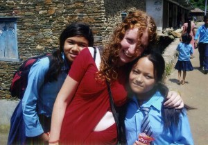 Melanie Hennessy with two children at the Talamarang Orphanage