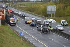 The crash scene on the M18. Photograph by John Kelly