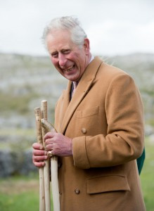 Prince Charles in the Burren  with the walking sticks which were presented to him. Photograph by John Kelly