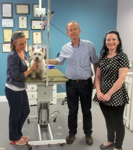 Myself and my humans, Shelly and John, with Katie from Bubbles and Barks.