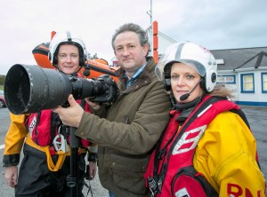 John Kelly with John and Shelly Galvin, at the RNLI Lifeboat Station in Kilrush. Photograph by Arthur Ellis